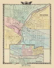 Rockford & Sterling Cities, 1876 Illinois - Old Map Reprint - Warner & Beers Illinois State Atlas