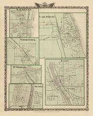 Waukegan, Lake Forest, Woodstock, St Charles, Elgin & Geneva Cities, 1876 Illinois - Old Map Reprint - Warner & Beers Illinois State Atlas