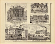 First National Bank & other Pictures, 1876 Illinois - Old Map Reprint - Warner & Beers Illinois State Atlas