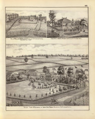 Holmes Residence & other Pictures, 1876 Illinois - Old Map Reprint - Warner & Beers Illinois State Atlas