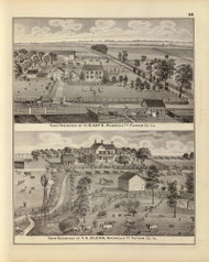 Kay Residence & other Pictures, 1876 Illinois - Old Map Reprint - Warner & Beers Illinois State Atlas