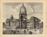 State Capitol, 1876 Illinois - Old Map Reprint - Warner & Beers Illinois State Atlas