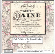 Atlas of the State of Maine 1887, CDROM Old Map