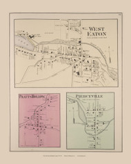 Eaton West Eaton Pratts Hollow Pierceville, New York 1875 - Old Town Map Reprint - Madison Co. Atlas