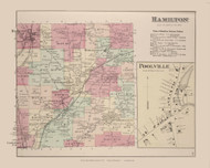 Hamilton Poolville, New York 1875 - Old Town Map Reprint - Madison Co. Atlas