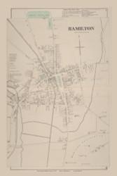 Hamilton HamiltonVillage, New York 1875 - Old Town Map Reprint - Madison Co. Atlas