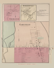 Earlville Colchester Hubbardsville, New York 1875 - Old Town Map Reprint - Madison Co. Atlas