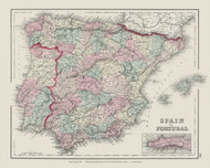 Spain and Portugal - 1878 O.W. Gray - USA Atlases - Europe & The World
