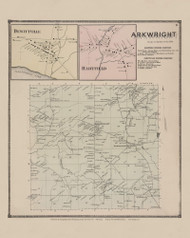 Town of Arkwright and Dewitville and Hartfield Villages, New York 1867 - Old Town Map Reprint - Chautauqua Co. Atlas