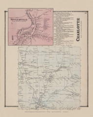 Town of Charlotte and Sinclearville Village, New York 1867 - Old Town Map Reprint - Chautauqua Co. Atlas