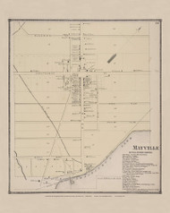 Mayville, New York 1867 - Old Town Map Reprint - Chautauqua Co. Atlas