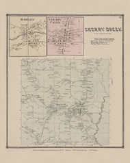Town of Cherry Creek and Hamlet and Cherry Creek Villages, New York 1867 - Old Town Map Reprint - Chautauqua Co. Atlas