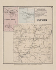Town of Clymer and Smiths Mills and Nashville Villages, New York 1867 - Old Town Map Reprint - Chautauqua Co. Atlas