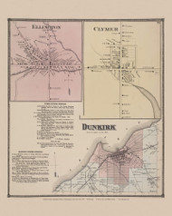 Town of Dunkirk and Ellington and Clymer Villages, New York 1867 - Old Town Map Reprint - Chautauqua Co. Atlas