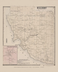 Town of Ellery and Ellery Center Village, New York 1867 - Old Town Map Reprint - Chautauqua Co. Atlas