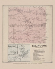 Town of Ellington and Delanti Village, New York 1867 - Old Town Map Reprint - Chautauqua Co. Atlas
