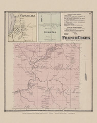 Town of French Creek and Cassadaga and Clymer Hill Villages, New York 1867 - Old Town Map Reprint - Chautauqua Co. Atlas