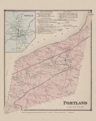 Town of Portland and Ashville Village, New York 1867 - Old Town Map Reprint - Chautauqua Co. Atlas