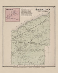 Town of Sheridan and Sheridan Village, New York 1867 - Old Town Map Reprint - Chautauqua Co. Atlas
