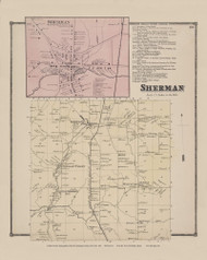 Town of Sherman and Sherman Village, New York 1867 - Old Town Map Reprint - Chautauqua Co. Atlas