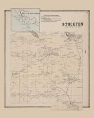 Town of Stockton and South Stockton Village, New York 1867 - Old Town Map Reprint - Chautauqua Co. Atlas