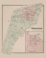Town of Westfield and Barcelona Village, New York 1867 - Old Town Map Reprint - Chautauqua Co. Atlas