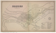 Cohoes, Albany Co., New York 1866 - Old Town Map Reprint - Albany & Schenectady Cos. Atlas