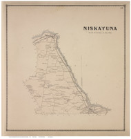 Niskayuna, Schenectady Co., New York 1866 - Old Town Map Reprint - Albany & Schenectady Cos. Atlas