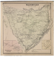 Watervliet Town, Watervliet Center and North Albany Villages, Albany Co., New York 1866 - Old Town Map Reprint - Albany & Schenectady Cos. Atlas
