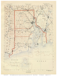 County Map, Rhode Island 1891 USGS Old Topo Map 15x15 Quad - 1891 Atlas