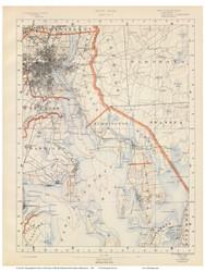 Sheet 3 - Providence, Warwick, and Bristol, Rhode Island 1891 USGS Old Topo Map 15x15 Quad - 1891 Atlas