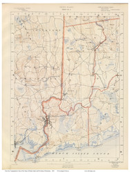 Sheet 9 - Westerly and Hopkinton, Rhode Island 1891 USGS Old Topo Map 15x15 Quad - 1891 Atlas