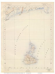Sheet 10 - Block Island, Rhode Island 1891 USGS Old Topo Map 15x15 Quad - 1891 Atlas