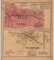 Fonda & Fultonville, Montgomery Co. New York 1868 - Old Town Map Reprint - Montgomery & Fulton Cos. Atlas