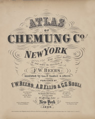 Title Page, New York 1869 - Old Town Map Reprint - Chemung Co. Atlas