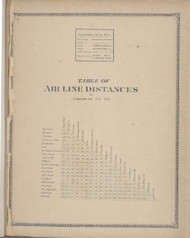 Table of Distances, New York 1869 - Old Town Map Reprint - Chemung Co. Atlas