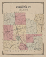Chemung County, New York 1869 - Old Town Map Reprint - Chemung Co. Atlas
