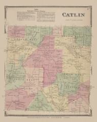 Catlin, New York 1869 - Old Town Map Reprint - Chemung Co. Atlas