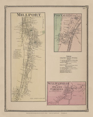 Millport, Pine Valley & Sullivanville, New York 1869 - Old Town Map Reprint - Chemung Co. Atlas