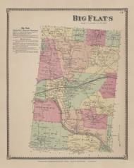 Big Flats, New York 1869 - Old Town Map Reprint - Chemung Co. Atlas