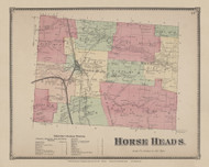 Horse Heads, New York 1869 - Old Town Map Reprint - Chemung Co. Atlas