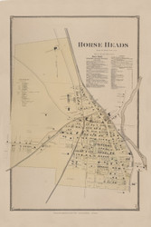 Horse Heads Village, New York 1869 - Old Town Map Reprint - Chemung Co. Atlas