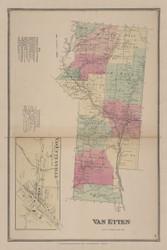 Van Etten, New York 1869 - Old Town Map Reprint - Chemung Co. Atlas