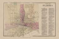 Elmira City, New York 1869 - Old Town Map Reprint - Chemung Co. Atlas