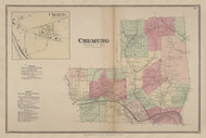 Chemung, New York 1869 - Old Town Map Reprint - Chemung Co. Atlas