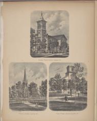 Second Presb. Church, Trinity Church & First Press Church - Elmira, New York 1869 - Old Town Map Reprint - Chemung Co. Atlas