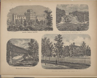 Elmira Female College, Sutherland Falls, Bridge Over The River, Souther Tier Orphans Home, New York 1869 - Old Town Map Reprint - Chemung Co. Atlas