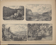 Catle Rock, View on the Susquehanna, Descent into the Valley of Wyoming, PA & View from Glenmary Lawn, New York 1869 - Old Town Map Reprint - Chemung Co. Atlas