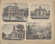 Bristol Iron Works, Union School, Cong. Church, View on the Susquehanna, New York 1869 - Old Town Map Reprint - Chemung Co. Atlas