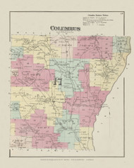 Columbus, New York 1875 - Old Town Map Reprint - Chenango Co. Atlas